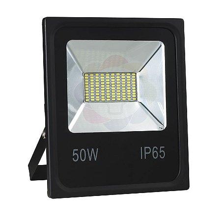Refletor LED 50w SMD Branco Quente