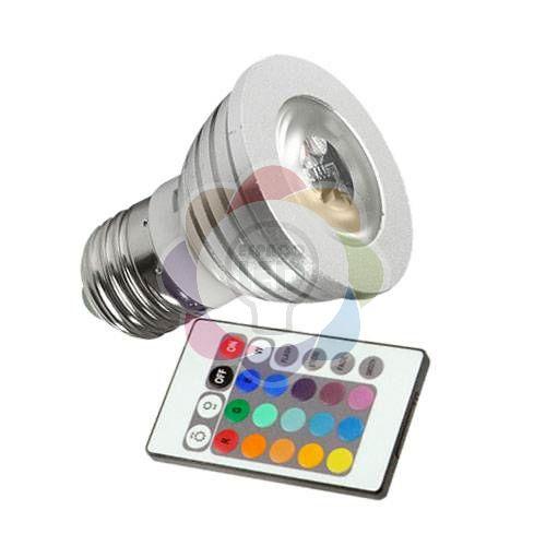 Lâmpada Dicroica 3w Colorida RGB com Controle E27