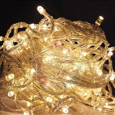 Luzinha de Natal Pisca Pisca 9,7m com 100 Leds Branco Quente 110v