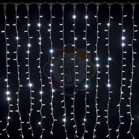 Cortina de LED 3x2m com 300 Leds Branca Fria 110v