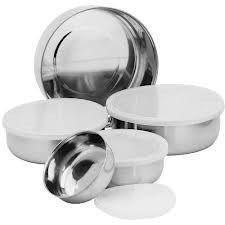 Conjunto De 5 Potes Inox Com Tampa Kit Utilidade