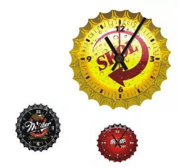 Relógio De Parede Mix Tampinha com 29 Cm Cervejas