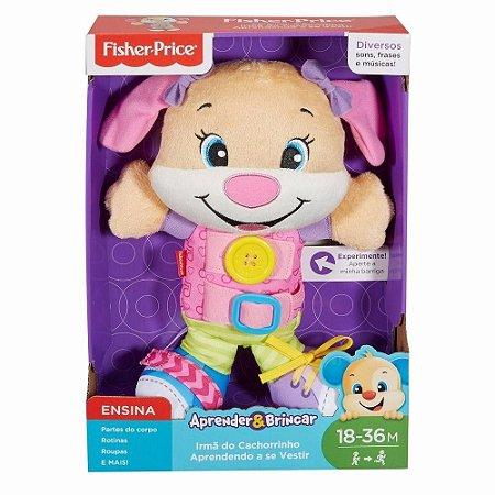 Pelúcia com Som Cachorrinho/Irmã do Cachorrinho Aprendendo a se Vestir Fisher Price