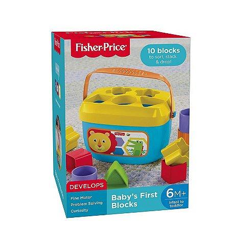 Balde Primeiros Blocos 10pçs Fisher Price
