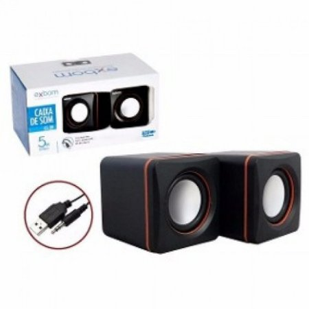 Mini Caixa de Som 2.0 4W RMS para PC e Notebook Exbom CS-39