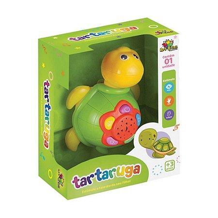Tartaruga Musical Infantil Brinquedo com efeitos sonoros música e luz Art Brink
