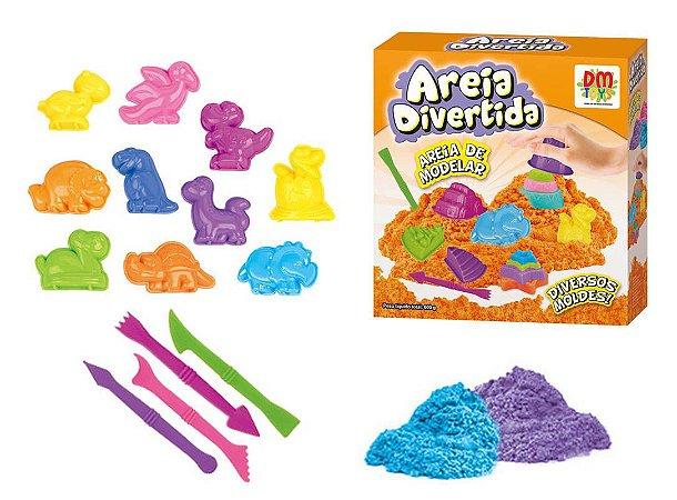 Massinha de Modelar Areia Divertida com 10 moldes Bichos DM Toys