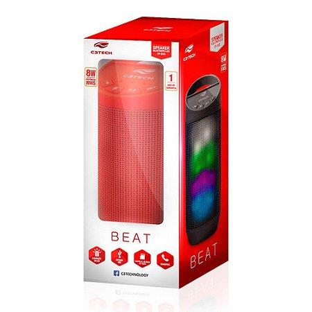 Caixa de Som Speaker Bluetooth Beat Vermelha 8W C3TECH