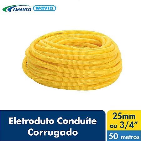 Amanco Eletrica Eletroduto Corrugado Conduite Amarelo Dn 25X50M