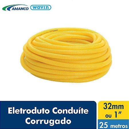 Amanco Eletrica Eletroduto Corrugado Conduite Amarelo Dn 32X25M