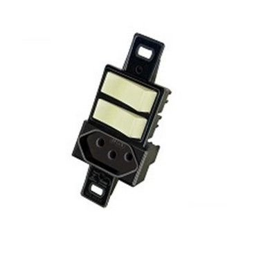 Blux 2 Interruptor Simples + Tomada 10A Preta