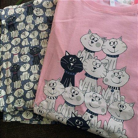 Pijama Gatos Rosa e Cinza