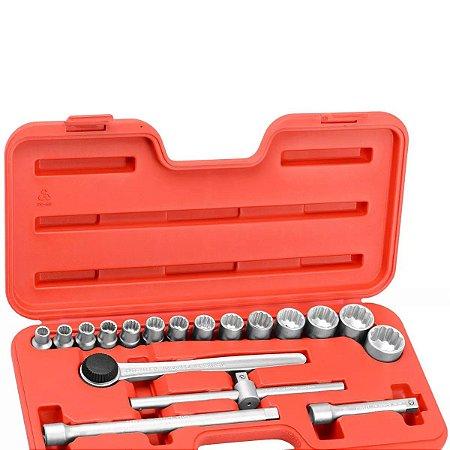 Jogo De Soquetes Estriados 10 A 32mm Encaixe 1-2 D26 Am Robust