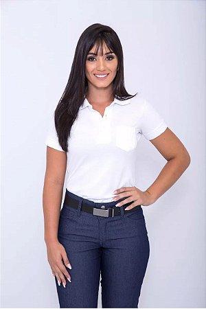 Farda Uniforme Profissional Camisa Polo Branca Feminina