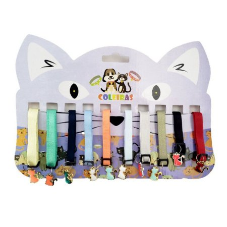 Coleira luxo lisa com pingente para gatos unidade