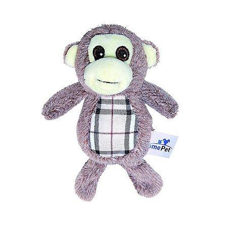Brinquedo Jolitex Homepet Macaco Xadrez de Pelúcia