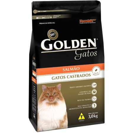 Ração Golden Gatos Adultos Castrados Salmão