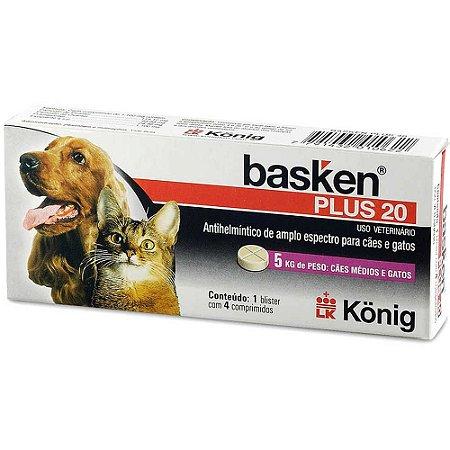 Antiparasitário Basken Plus 20 - 4 comprimidos