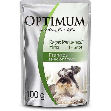 Ração Úmida Optimum Sachê Raças Pequenas e Minis Frango para Cães Adultos 100g