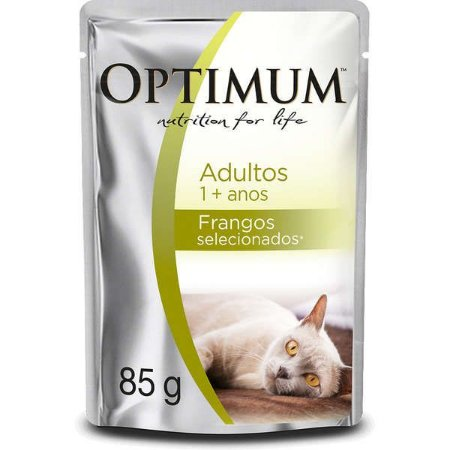 Ração Úmida Optimum Sachê Frango para Gatos Adultos 85g
