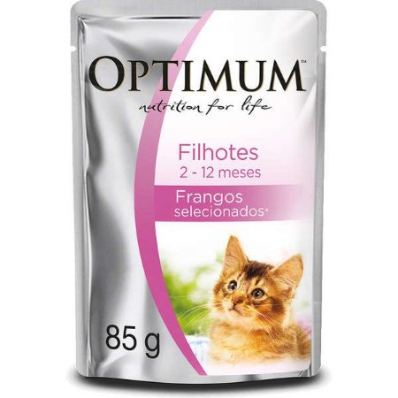 Ração Úmida Optimum Sachê Frango para Gatos Filhotes 85g