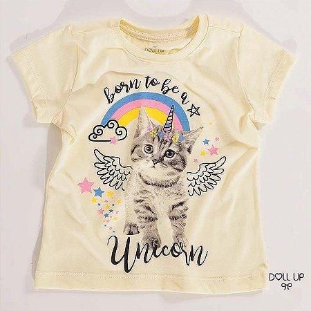 Camiseta Gatinho manga curta menina
