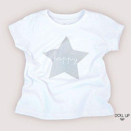 Camiseta happy manga curta menina