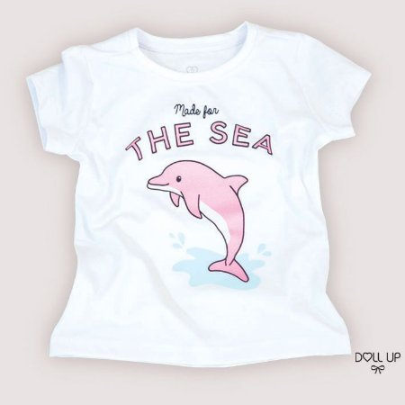 Camiseta golfinho manga curta menina
