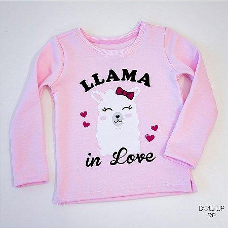 Blusão de moletom peluciado menina llama in love