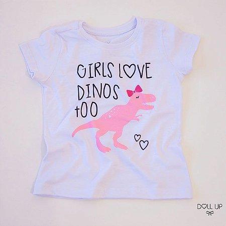 Camiseta dinossauro manga curta menina