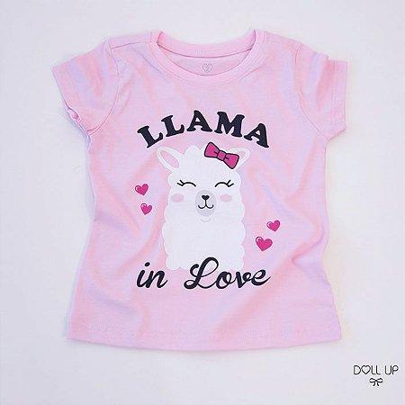 Camiseta llama in love manga curta menina