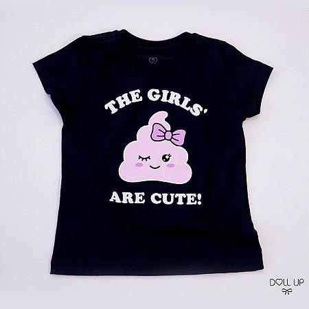 Camiseta emoji cocô fofinho manga curta menina