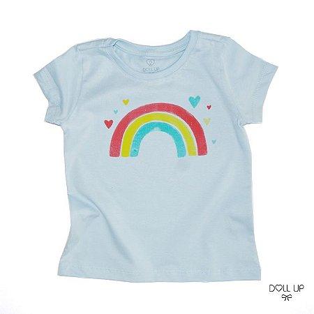 Camiseta Arco-íris manga curta menina