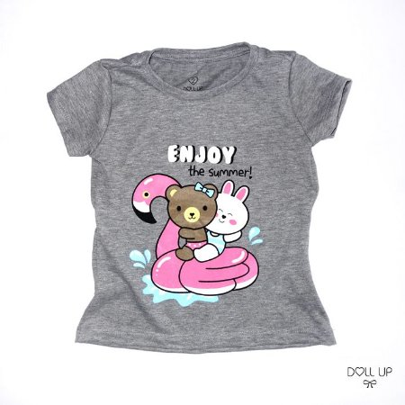 Camiseta Enjoy the summer manga curta menina