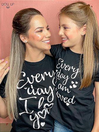 "Camiseta ""Every day I love you"" manga curta feminina"