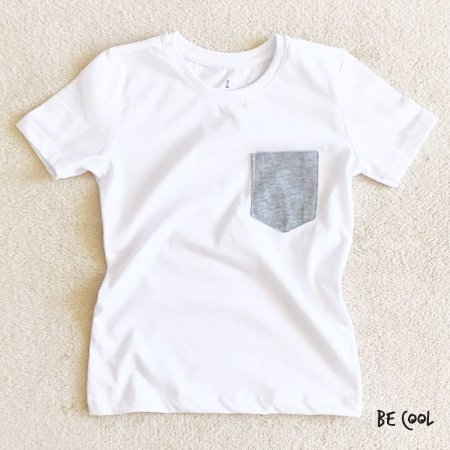 Camiseta bolsinho mescla manga curta menino