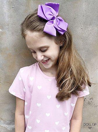 Camiseta corações manga curta menina