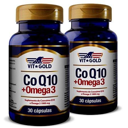 Coenzima Q10 CoQ10 com Ômega 3 1000mg Vitgold Kit2x 30 cáp.