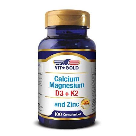 Cálcio Magnésio Zinco + Vitamina D3 e K2 Vitgold 100 comprimidos
