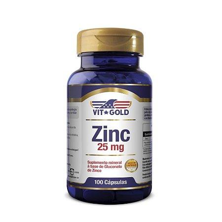 Zinco 25mg Vitgold 100 cápsulas