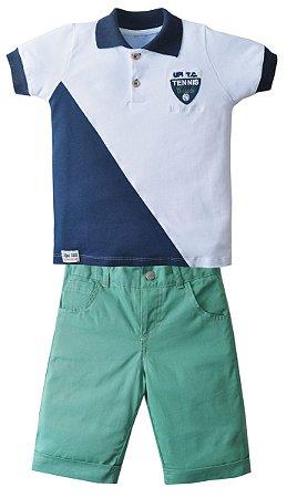 Conjunto Camisa Polo Branca com Bermuda Tennis Club - Upi Uli