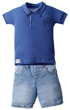 Conjunto Camisa Polo com Bermuda Jeans Diversas Cores - Upi Uli