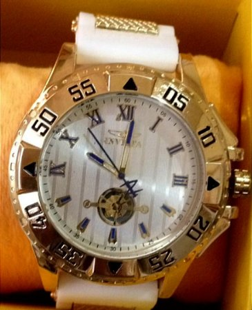 Replica de Relógios Invicta Branco Com Pulseira de Borracha