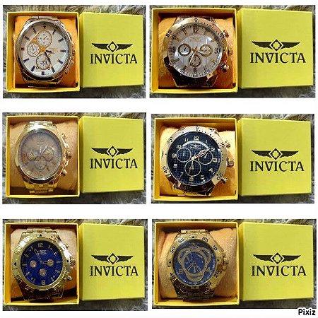 Kit 10 Relógios Masculinos Invicta Replicas Com Caixa