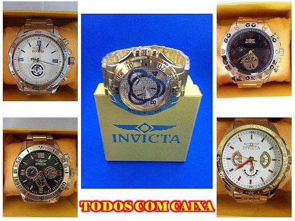 Kit 12 Relógios Masculinops Invicta Replicas Com Caixa