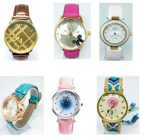 Kit 06 Relógios Femininos Pulseira Em Couro No Atacado