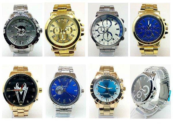 Kit 20 Relógios Masculinos Em Aço No Atacado