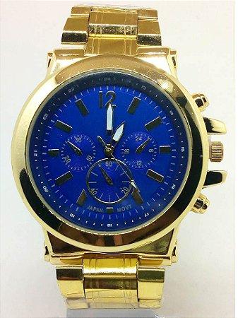 Relógio Masculino Dourado Fundo Azul Atacado Para Revenda