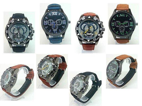 Kit 06 Relógios Masculinos Pulseira de Couro No Atacado
