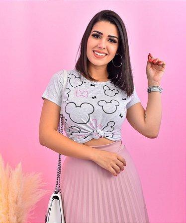 T-SHIRTS ALGODÃO FEMININA CINZA CONTORNO CABEÇA MICKEY